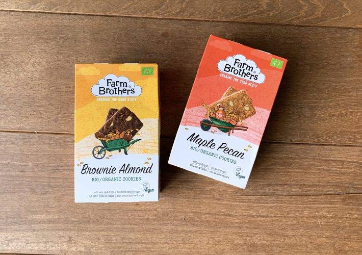 Farm Brothers vegan cookies maple pecan en brownie almond